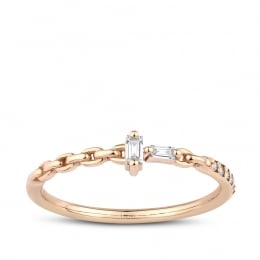 0.09 Carat Diamond Baguette Ring