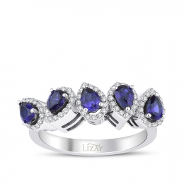 Diamond Sapphire Five Stoned Ring with 0.63 Carat