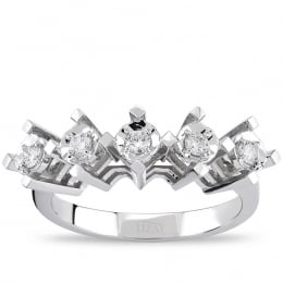 1 Carat Look Five Stone Diamond Ring