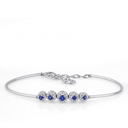 Diamond Sapphire Five Stone Bangle Bracelet