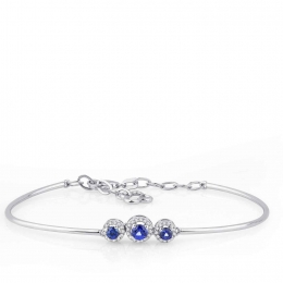 Diamond Sapphire Three Stone Bangle Bracelet