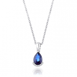 Sapphire Necklace with 1.12 Carat Diamonds