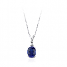 Sapphire Necklace with 2.87 Carat Diamonds
