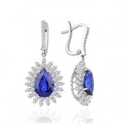 Sapphire Earrings with 9.72 Carat Diamonds