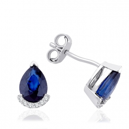 Sapphire Earring with 1.90 Carat Diamonds