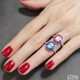 1.16 Carat Baguette Diamond with Sapphire Ring