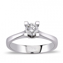 0.30 Carat F Color HRD Certified Diamond Engagement Ring