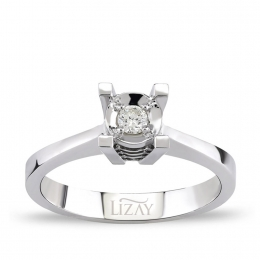 1 Carat Look Aynalı Solitaire Diamond Ring