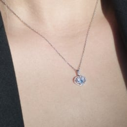 0.09 Carat Diamond Heart Necklace
