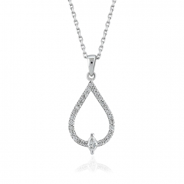 0.24 Carat Oval Cut Halo Diamond Pendant