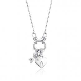 Silver Heart Necklace with Diamonds
