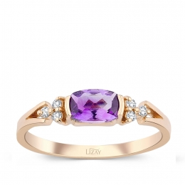 0.49 Carat Diamond Amethyst Ring