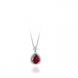 Ruby ve Diamond Drop Pendant