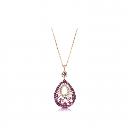 1.48 Carat Diamond Ruby Necklace