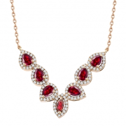 1.79 Carat Diamond Ruby Necklace
