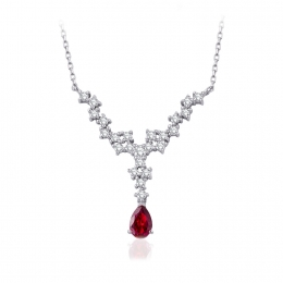 0.97 Carat Diamond Ruby Necklace