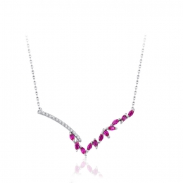 0.49 Carat Diamond Ruby Necklace