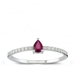 Diamond Drop Ruby Trendy Ring
