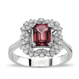1.58 Carat Baguette Diamond Ruby Ring