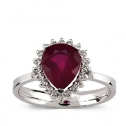2.32 Carat Ruby Diamond Drop Ring