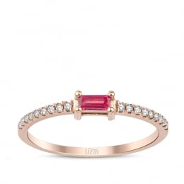 0.22 Carat Diamond Ruby Ring