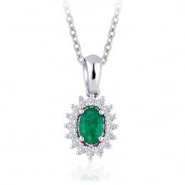0.40 Carat Diamond Emerald Necklace