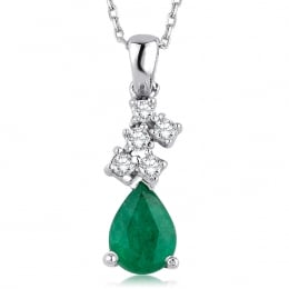0.74 Carat Diamond Emerald Necklace