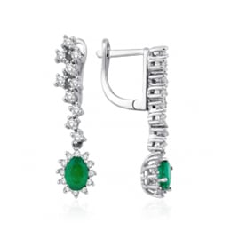 1.52 Carat Diamonds Emerald Earrings