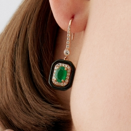 Emerald Earrings with 1.86 Carat Diamonds