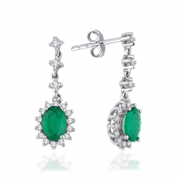 1.74 Carat Diamonds Emerald Earrings
