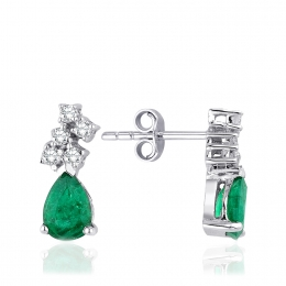 1.40 Carat Diamond Emerald Earrings